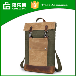 Long style Army green canvas backpack for men, travelling backpack
