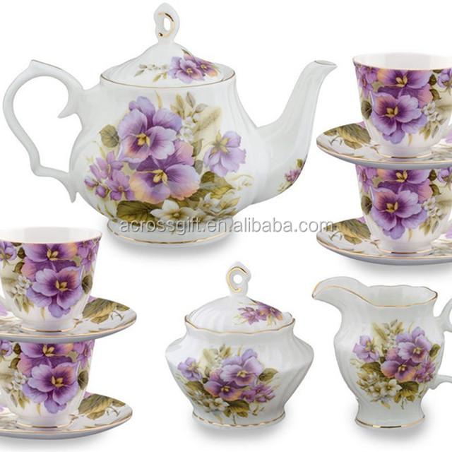 hot sale personalized handmade color glazed ceramic purple tea set
