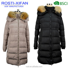 Women Raccoon Fur Collar Duck Down Coat with Hood Overcoat Outdoor