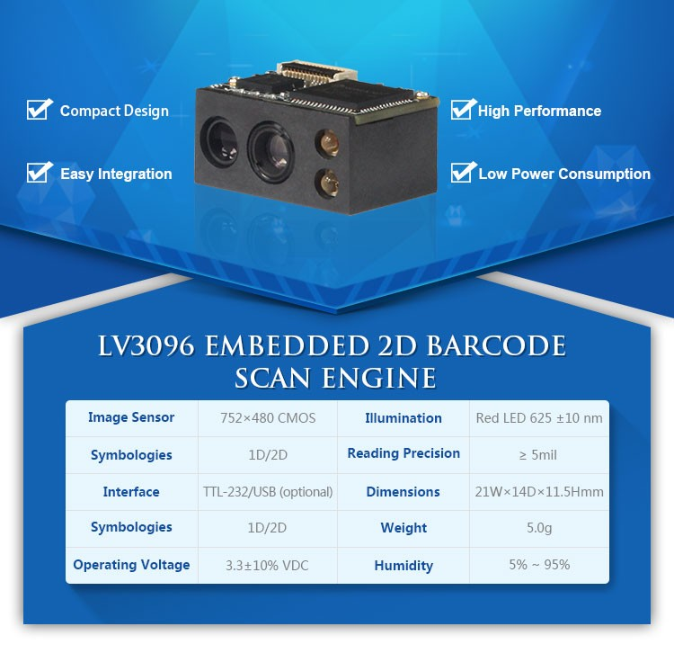 LV3096 factory price 2d barcode scanner module qr code scanner
