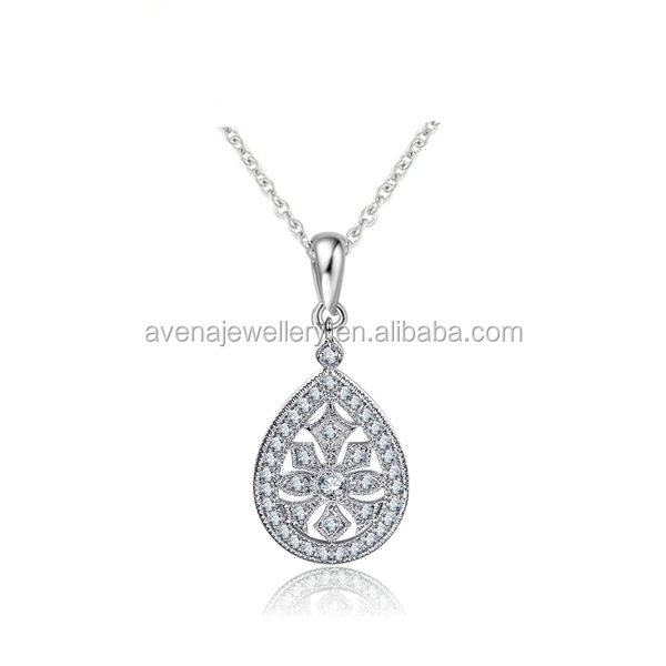 High Quality Dongguan Factory White Platinum Jewelry Necklace Micro Setting Cubic Zircon Pendant Necklace for Women Valentine's