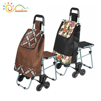 Fashionable 3 Wheel folding shopping trolley bag With Seat for stairs climbing,Folding trolley bag