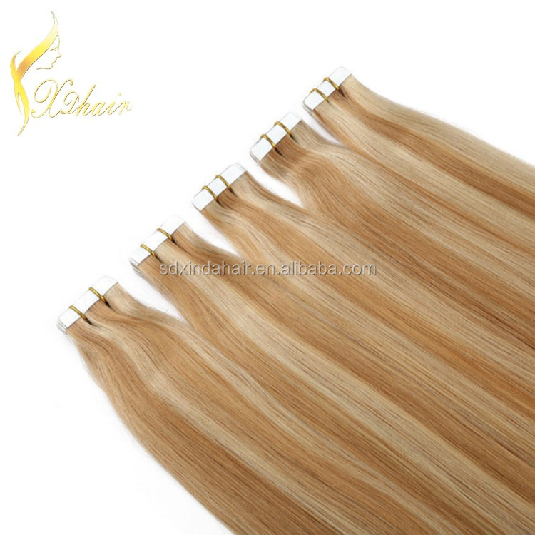 Hot Sale Virgin Remy Brazilian Human Hair Weft Piano color Tape In /Pu Hair Extension with keratin bonding 2.5g per piece