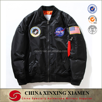 OEM Ma1 Embroidery Patch Tan Casual Nylon Bomber Jacket Wholesale