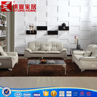 living room modern 1+2+3 stainless steel genuine leather sofas