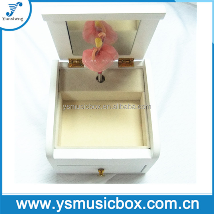 White Wooden ballerina music box for Birthday Gift