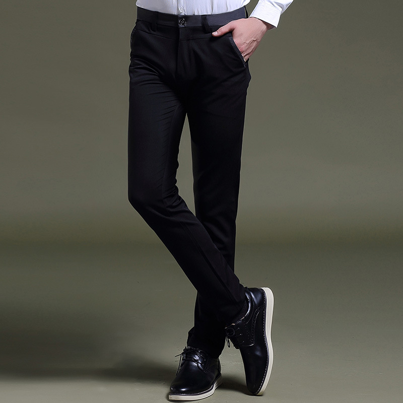 "TE22 2016 autumn paragraph men ""s casual pants Korean small trousers black stretch feet pants fashion British men's trousers"