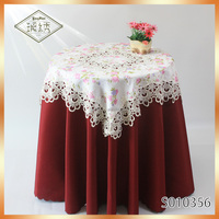 Embroidered Lace Trim Patchwork Damask Table Cover