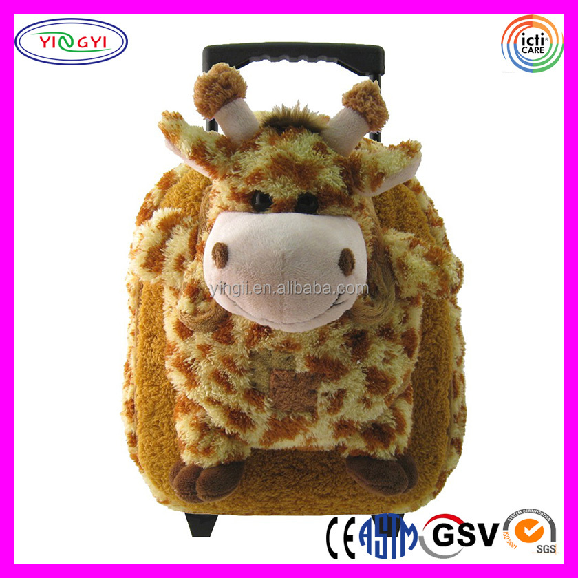 B558 Plush Stuffed Animal Trolley Rolling Backpack Giraffe Laptop Bags Aoking Trolley Backpack