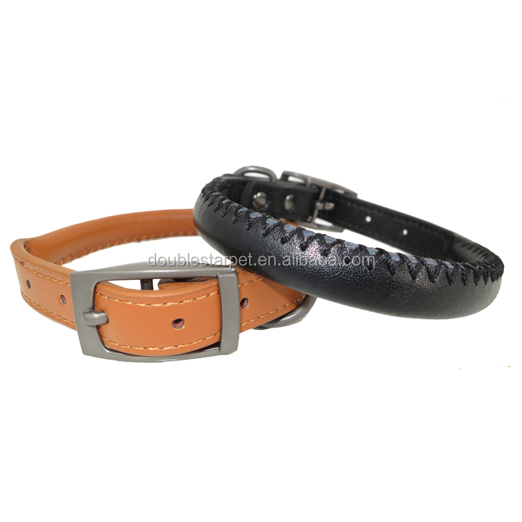 Top 2017 Adjustable 100% Full Genuine Leather Rolled Round Dog Collar
