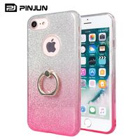 2018 new design 3 in 1 shockproof soft tpu pc glitter mobile case cover for iphone 8 plus, phone case with kickstand