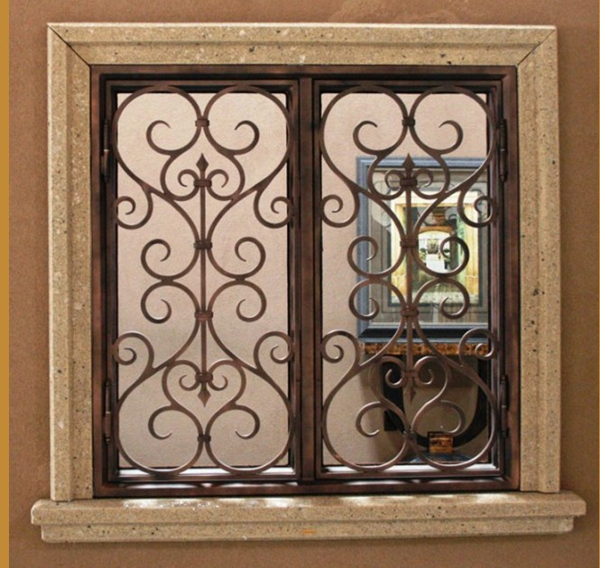 Window grill security iron window grill panelsmetal for Exterior window grill design
