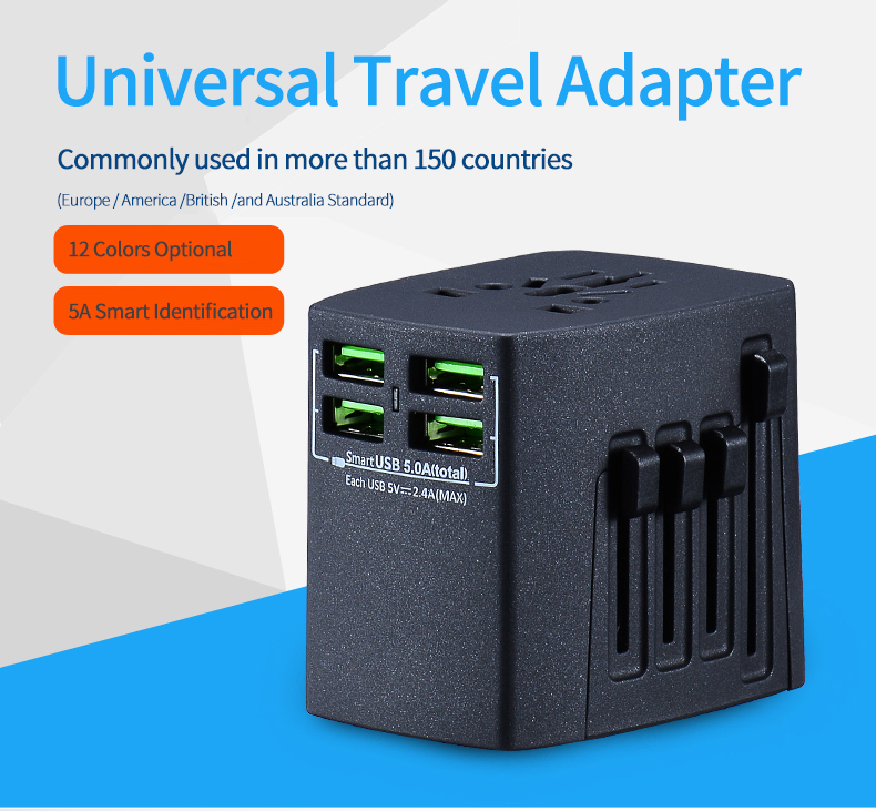 Nice Gift 5V 5A 4 USB Port All in One Universal International Plug Adapter /World Travel AC Power Charger Adaptor Rose Gold