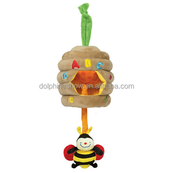 Pull String Musical Baby Hanging Yellow Bee Plush Toy Custom OEM Cute Stuffed Animal Soft Plush Bumble Bee