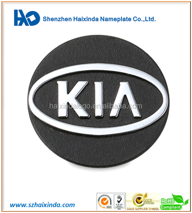 Black background custom embossed plating nickel metal logo label for car