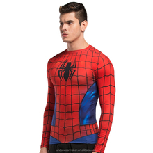 2016 3D Superhero mens t shirts men Spiderman Iron man Long Sleeve Cycling T-Shirts Pro Tops Slim Fit Sport Workout Excerise shi