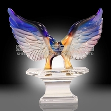 Liuli/glass Crystal Eagle Sculpture Trophy Replica