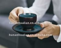 12oz Coffee Cup and Saucer with cup in turquoise and saucer in dark brown