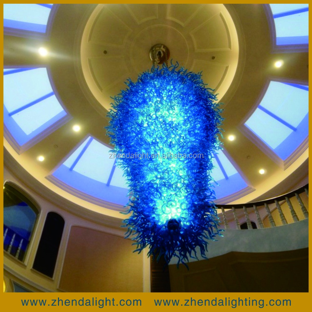 modern blue crystal murano glass chandelier pendant light