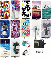 Cartoon Flip Wallet PU+TPU Leather Stand Case Cover For Apple iphone 5 5S