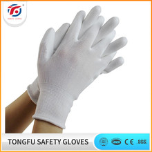 White Polyester PU Coated On Palm Hand Work Gloves with En388 Certificate