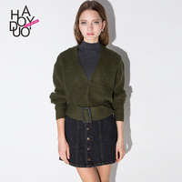 HAODUOYI Women V Neck Casual Short Style Sweaters Fashion Knitted Cardigan with Adjustable Belt for Wholesale