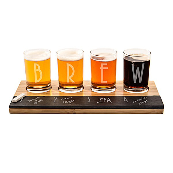 new product beer for craft brews glass cup set with natural wooden paddle