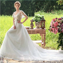 white elegant deep v neck cap sleeve long train beaded exotic wedding dresses