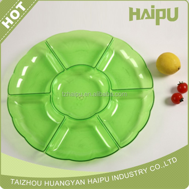 Party essentials elegant /compartment big disposable plastic tray/household palstic tray
