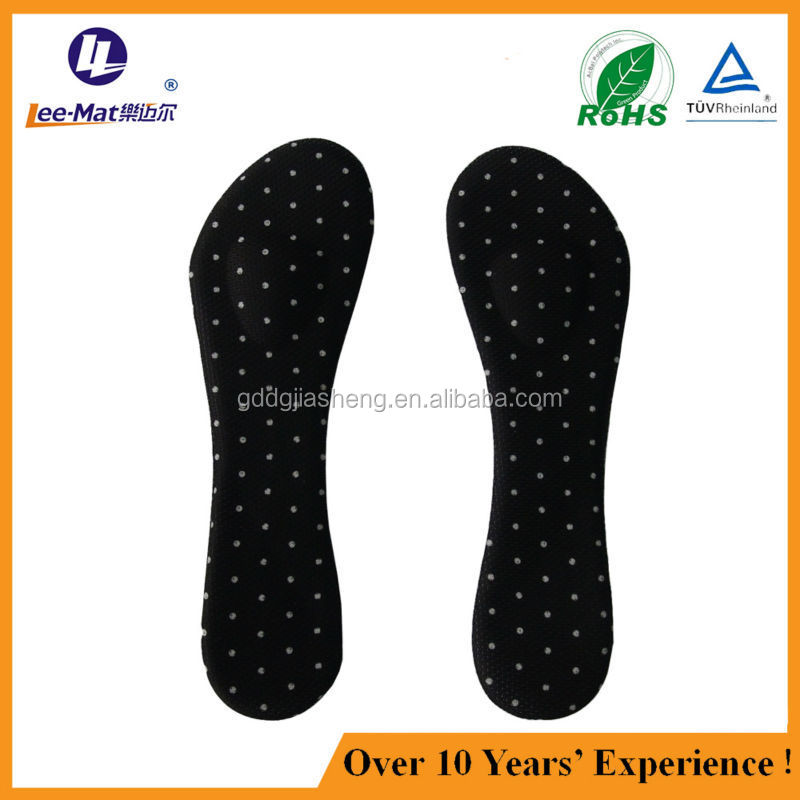 Lady high heel accessory 3/4 length pu gel foot insole with cotton cover