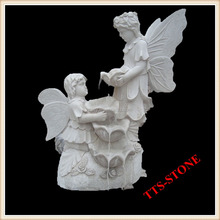 Children angel white stone sculpture statue