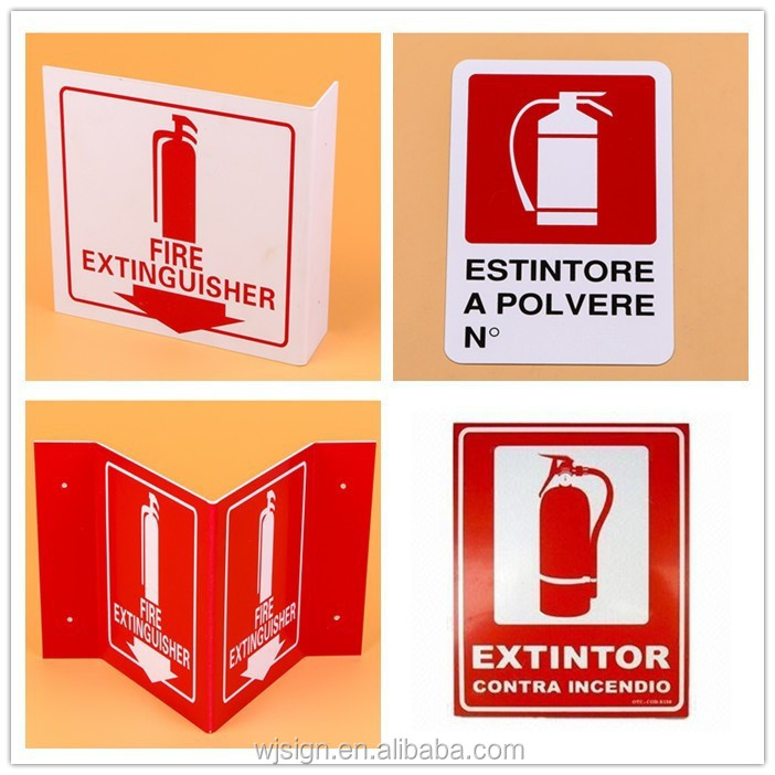 Factory Direct Emergency Safety Plastic Custom Fire Extinguisher Sign