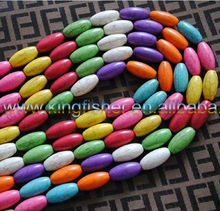 Wholesales 10x20mm Multi-colored Natural Howlite&gemstone&Turquoise beads!! Long Oval gemstone turquoise beads!! Attractive!!