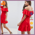 custom made your plain red off shoulder plus size sundress with tiered skirt