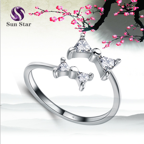 925 sterling silver lovely twinkle double bow open ring for women