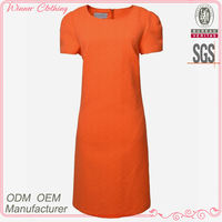Elegant Cutting Design Round Neck Short Sleeve Ladies Official Dress