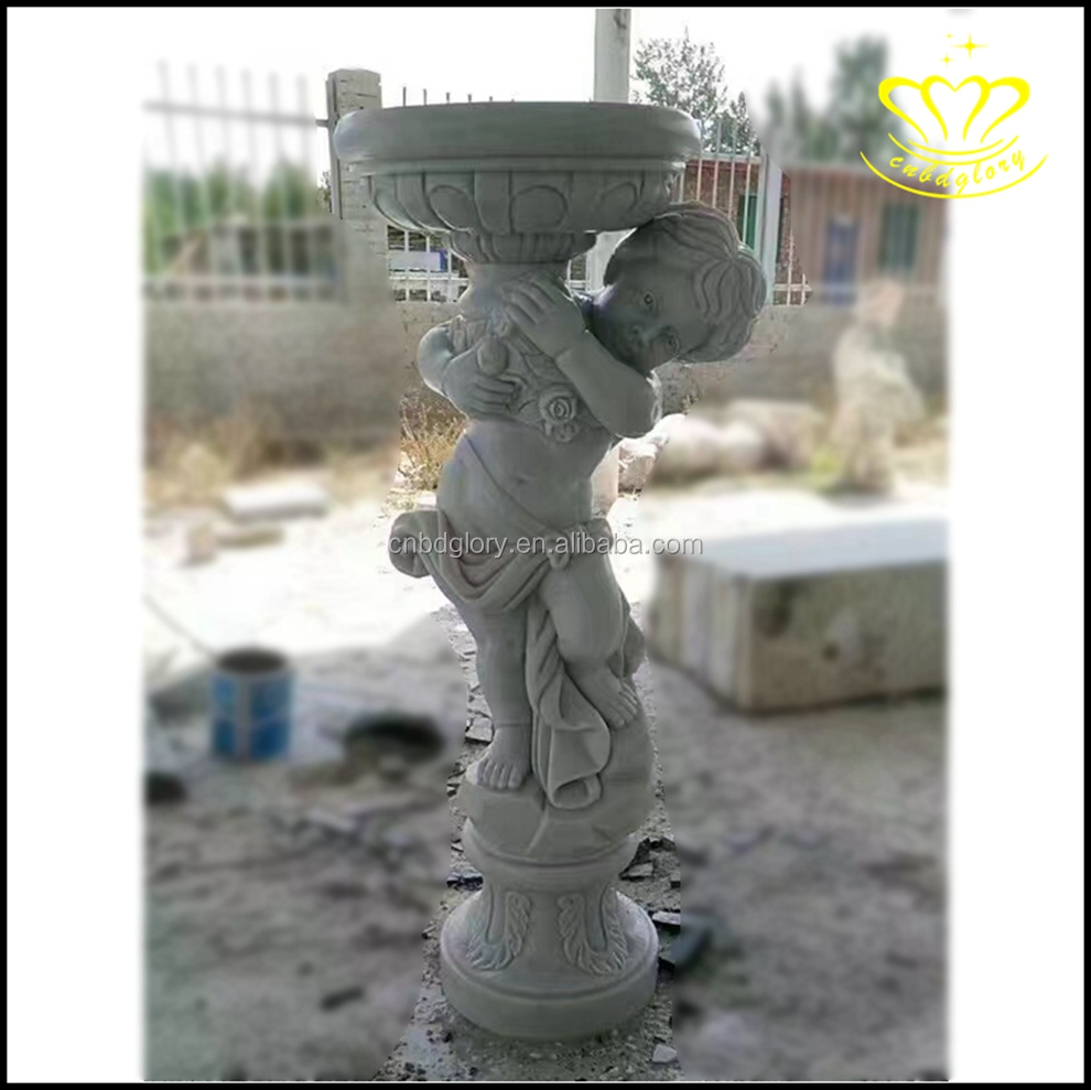 White marble stone statues lady sculpture with dog for garden home decorate