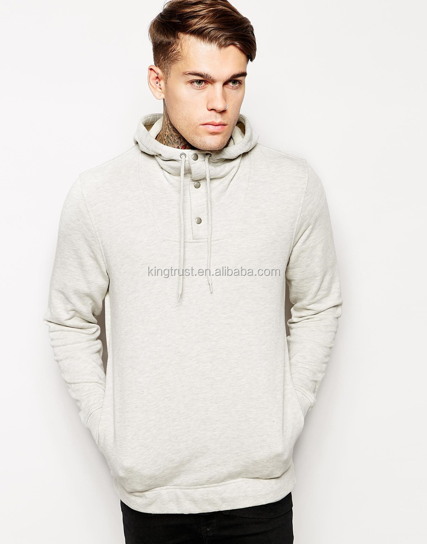 fashion design henry neckline blank custom mens hoodie with hood online shop China