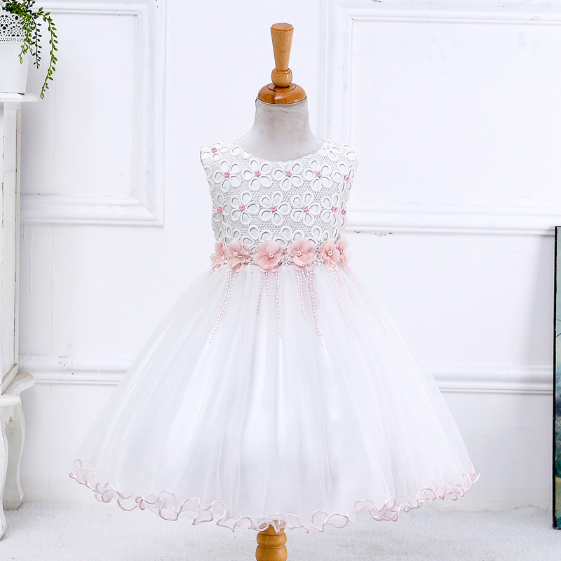 Hot sale bulk wholesale kids clothing modest sleeveless unique flower wedding party dresses LYD004