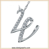 Etsy 2016 fashion jewelry Alphabet Letter W inlayed diamond/zircon pendants 925 Sterling Silver Letter Pendant for necklace