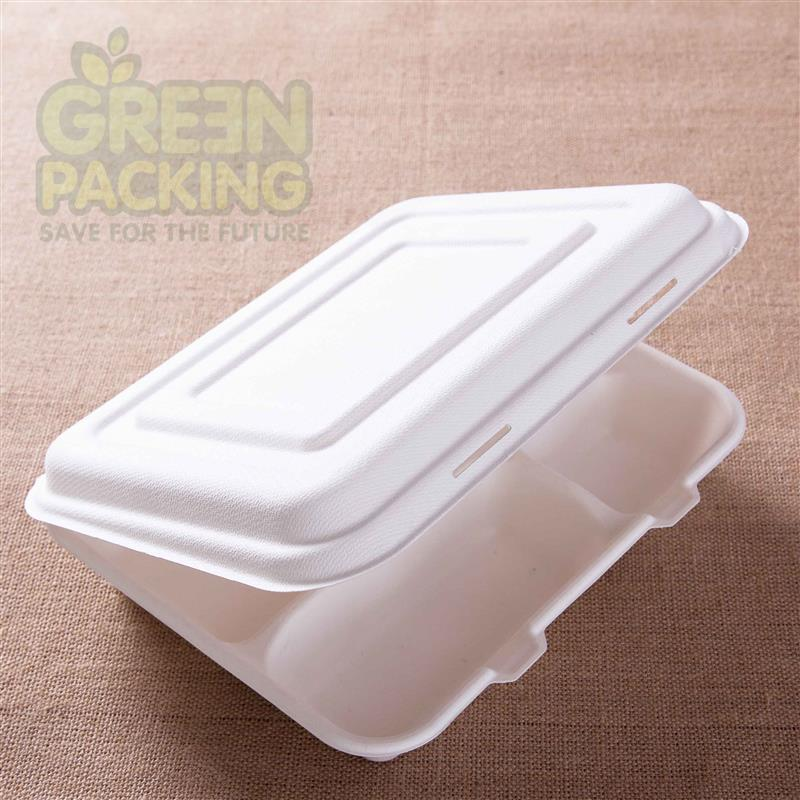 10 inch sugarcane pulp biodegradable food packaging box