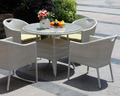 China company wholesale cheap french rattan dining set with round glass table, glass and metal dining table and chair