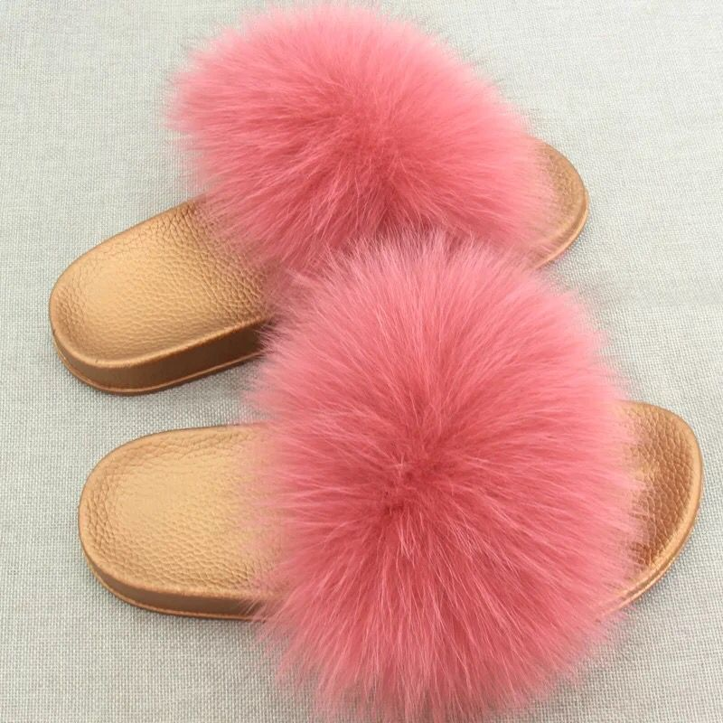 Great Fashionable Lady's Fur Slides Women Soft Fox Fur <strong>Slippers</strong>
