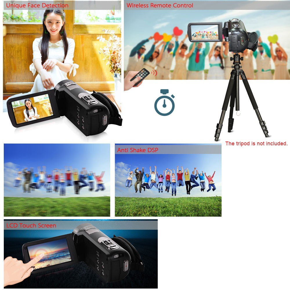 Quality Video Camcorder HDV-Z8 3inch Touch Screen 1080P Full HD NP-40 Lithium Battery 32GB Card Support