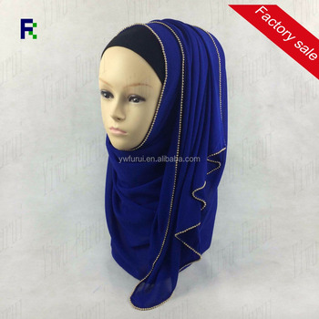 Plain Metal Zipper Chiffon Shawl Chain Border Muslim Hijab Scarf Solid Color