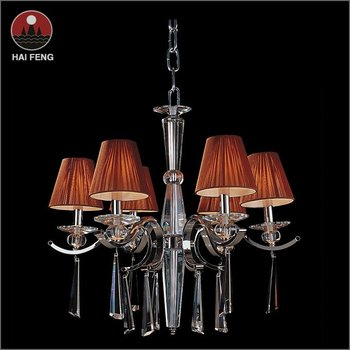 Modern crystal chandelier with 6 lights for cafeteria with yellow color