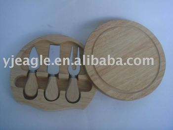 3pcs rubber wood handle Cheese knife set with wooden box