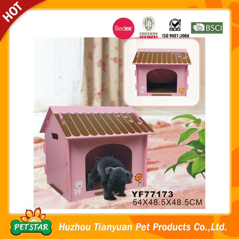2016 New Arrival Easy Assemly Cute Design Pink Indoor Dog House Wooden