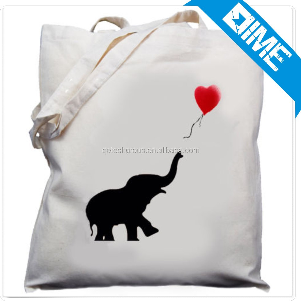 2016 Super Cool Elephant Pattern Shopping Cotton bags Canvas Tote Bag