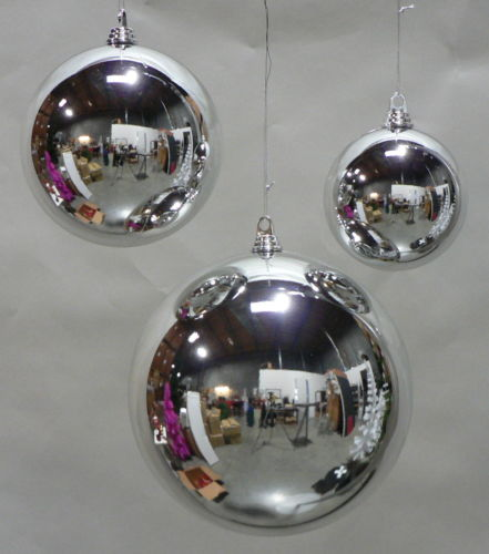 "Cheap LARGE SHINY SILVER 200MM PLASTIC CHRISTMAS BALL 8"" DIAMETER OUTDOOR ORNAMENT"